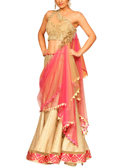 Indian Fashion Designers - Mandira Wirk - Contemporary Indian Designer - Lehengas - MW-SS15-MW-043 - Alluring Golden Lehenga
