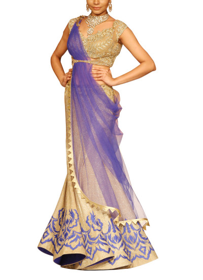 Indian Fashion Designers - Mandira Wirk - Contemporary Indian Designer - Lehengas - MW-SS15-MW-044 - Gorgeous Golden and Blue Lehenga