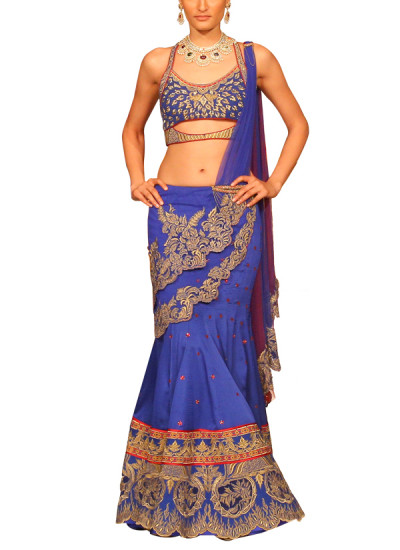 Indian Fashion Designers - Mandira Wirk - Contemporary Indian Designer - Lehengas - MW-SS15-MW-046 - Enthralling Blue Layered Lehenga