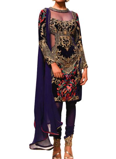 Indian Fashion Designers - Mandira Wirk - Contemporary Indian Designer - Salwars - MW-SS15-BR-009 - Peacock Embroidered Suit