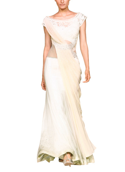 Indian Fashion Designers - Mandira Wirk - Contemporary Indian Designer - Sarees - MW-SS15-MW-002 - Elegant Ivory Drape Saree