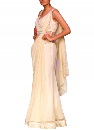Indian Fashion Designers - Mandira Wirk - Contemporary Indian Designer - Sarees - MW-SS15-MW-003 - Timeless Ivory Drape Saree