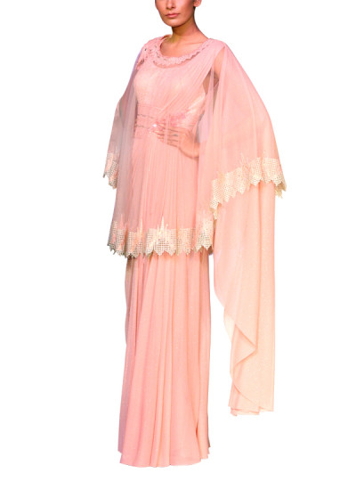Indian Fashion Designers - Mandira Wirk - Contemporary Indian Designer - Sarees - MW-SS15-MW-007 - Lovely Pink Cape Saree