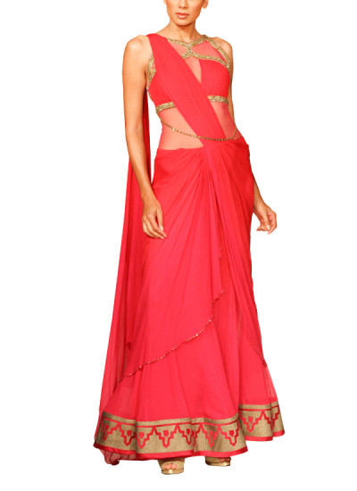 Indian Fashion Designers - Mandira Wirk - Contemporary Indian Designer - Sarees - MW-SS15-MW-019 - Flattering Fuchsia Drape Saree