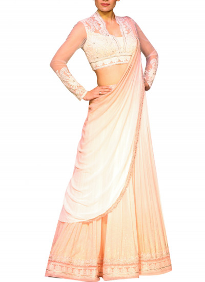 Indian Fashion Designers - Mandira Wirk - Contemporary Indian Designer - Skirts - MW-SS15-MW-005 - Ivory Pink Shaded Skirt Set