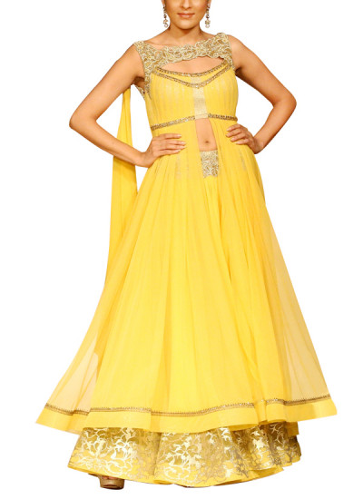 Indian Fashion Designers - Mandira Wirk - Contemporary Indian Designer - Skirts - MW-SS15-MW-014 - Yellow Laser Cut Skirt Set