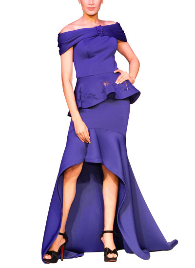 Indian Fashion Designers - Mandira Wirk - Contemporary Indian Designer - Skirts - MW-SS15-MW-022 - Royal Blue Skirt Set