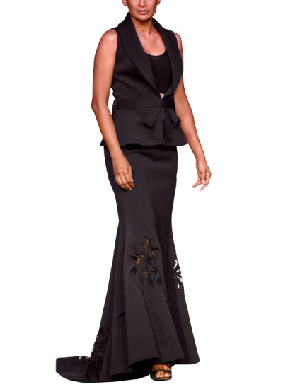 Indian Fashion Designers - Mandira Wirk - Contemporary Indian Designer - Skirts - MW-SS15-MW-028 - Elegant Black Skirt Set