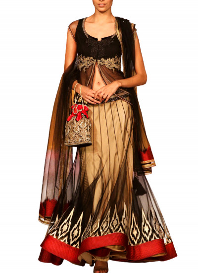 Indian Fashion Designers - Mandira Wirk - Contemporary Indian Designer - Skirts - MW-SS15-MW-034 - Black and Gold Skirt Set