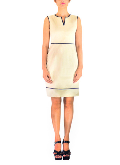Indian Fashion Designers - Michelle Salins - Contemporary Indian Designer Clothes - Dresses - MS-AW14-06171 - Flattering Beige Dress
