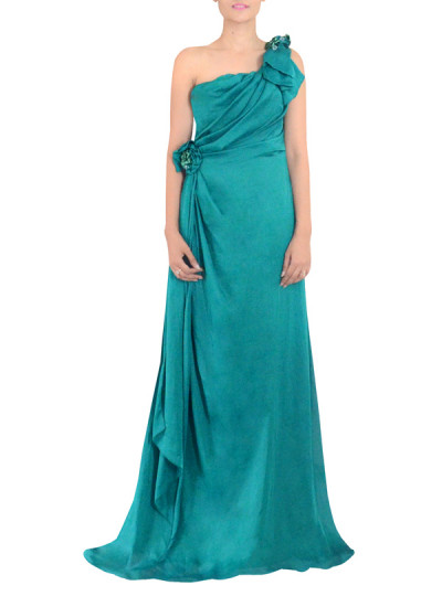 Indian Fashion Designers - Michelle Salins - Contemporary Indian Designer Clothes - Gowns - MS-AW14-06225 - Sea Green One Shouldered Gown