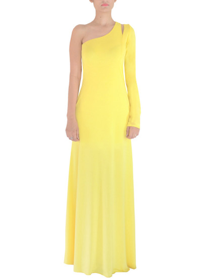 Indian Fashion Designers - Michelle Salins - Contemporary Indian Designer Clothes - Gowns - MS-AW14-SS14024 - Yellow One Shouldered Gown