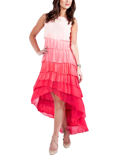 Indian Fashion Designers - Ropero - Contemporary Indian Designer - Dresses - ROP-SS15-RD-172 - Tiered High Low Ombre Dress