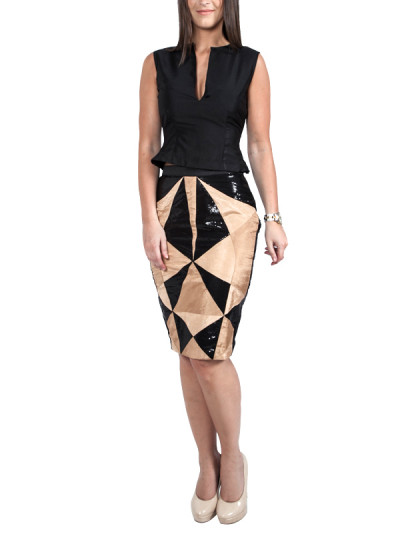Indian Fashion Designers - Ropero - Contemporary Indian Designer - Skirts - ROP-SS15-RS-162 - 3d Panel Pencil Skirt