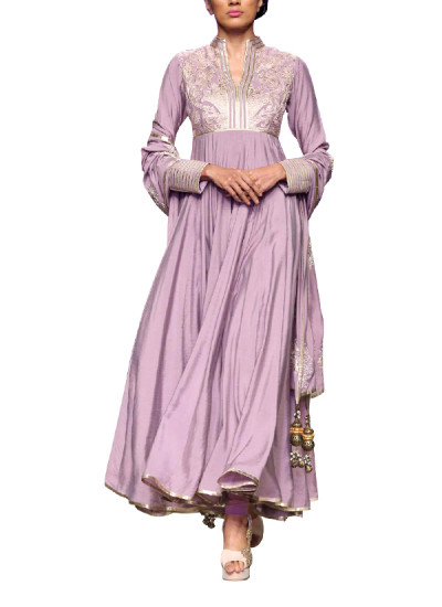 Indian Fashion Designers - Siddhartha Tytler - Contemporary Indian Designer Clothes - Anarkalis - ST-AW15-STC16-ANRKL-003 - Lovely Vintage Rose Anarkali