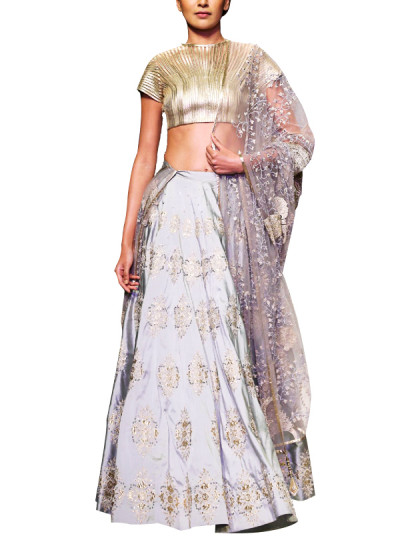 Indian Fashion Designers - Siddhartha Tytler - Contemporary Indian Designer Clothes - Lehengas - ST-AW15-STC16-LHNG-001 - Gorgeous Gold and Grey Lehenga