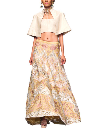 Indian Fashion Designers - Siddhartha Tytler - Contemporary Indian Designer Clothes - Lehengas - ST-AW15-STC16-LHNG-009 - Alluring Embroidered Lehenga