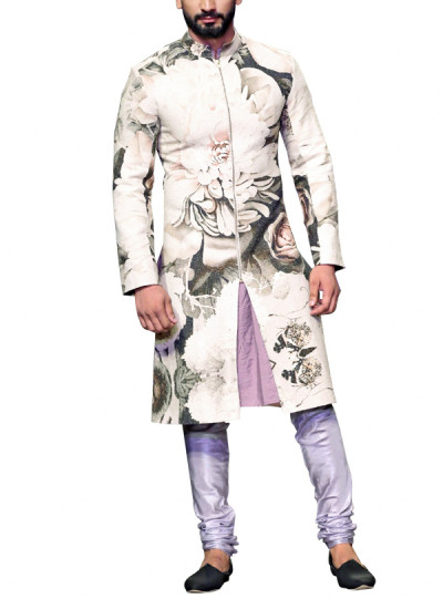Indian Fashion Designers - Siddhartha Tytler - Contemporary Indian Designer Clothes - Sherwanis - ST-AW15-STC16-SHRWN-007 - Matka Silk Printed Sherwani Set