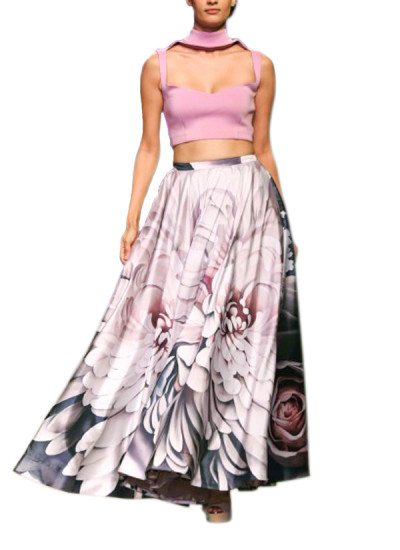 Indian Fashion Designers - Siddhartha Tytler - Contemporary Indian Designer Clothes - Skirts - ST-AW15-STC16-LHNG-005 - Pretty Floral Skirt Set