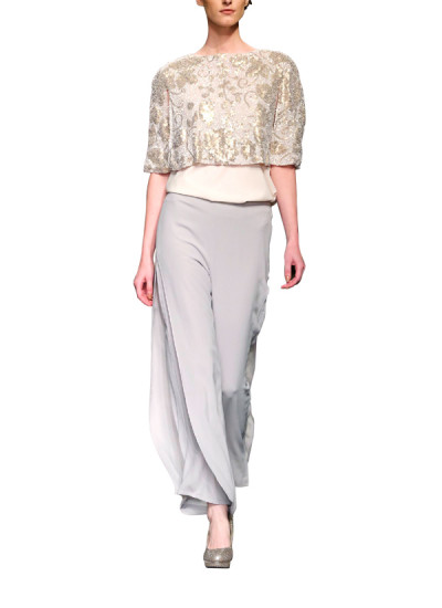 Indian Fashion Designers - Siddhartha Tytler - Contemporary Indian Designer Clothes - Tops - ST-AW15-STC16-CP-001 - Ivory and Skin Cape