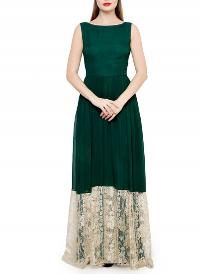 Indian Fashion Designers - Swatee Singh - Contemporary Indian Designer Clothes - Gowns - SWS-AW15-SSG-40 - Lovely Wine Green Gown
