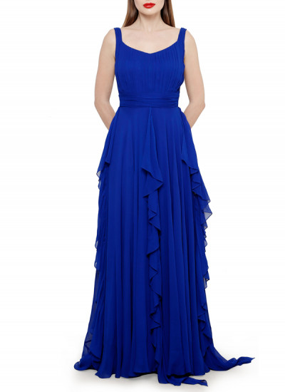 Indian Fashion Designers - Swatee Singh - Contemporary Indian Designer Clothes - Gowns - SWS-AW15-SSG-53 - Striking Royal Blue Gown