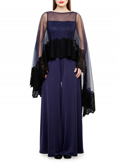 Indian Fashion Designers - Swatee Singh - Contemporary Indian Designer Clothes - Jumpsuits - SWS-AW15-SSJ-132 - Midnight Blue Jumpsuit
