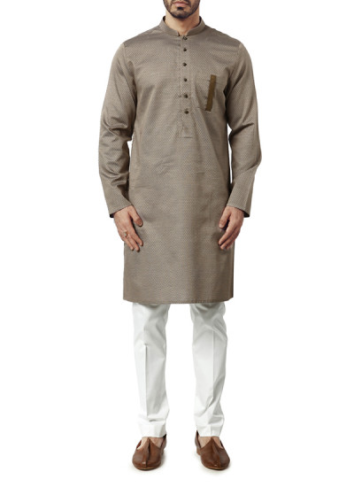 Indian Fashion Designers - WYCI - Contemporary Indian Designer Clothes - Kurtas - WYCI-AW15-KT-18 - Biscuit Toned Kurta