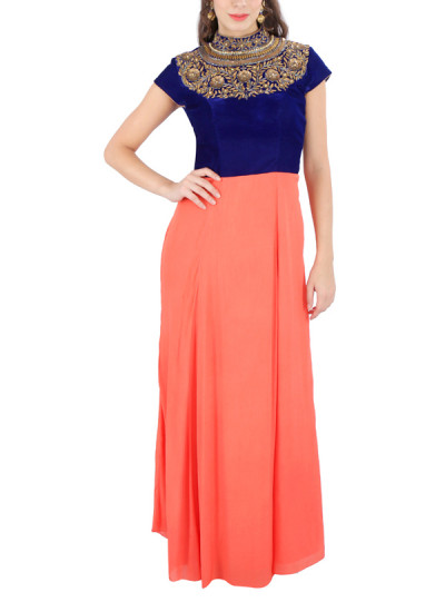 Indian Fashion Designers - Yosshita-Neha - Contemporary Indian Designer Clothes - Gowns - YN-SS15-YNG-014 - Midnight Blue and Coral Gown