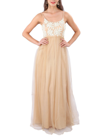 Indian Fashion Designers - Yosshita-Neha - Contemporary Indian Designer Clothes - Gowns - YN-SS15-YNG-018 - Pearl Embroidered Beige Gown