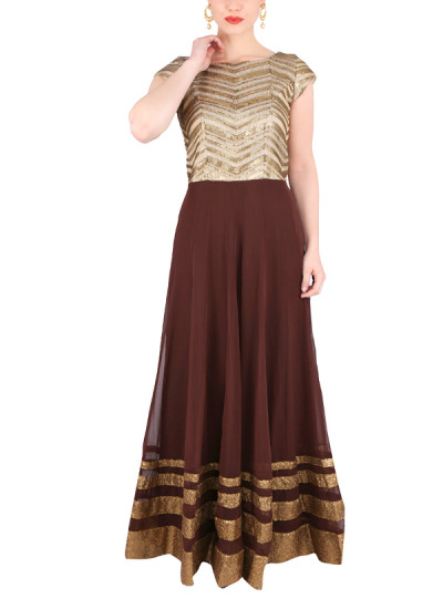 Indian Fashion Designers - Yosshita-Neha - Contemporary Indian Designer Clothes - Gowns - YN-SS15-YNG-023 - Chocolate Brown and Gold Gown