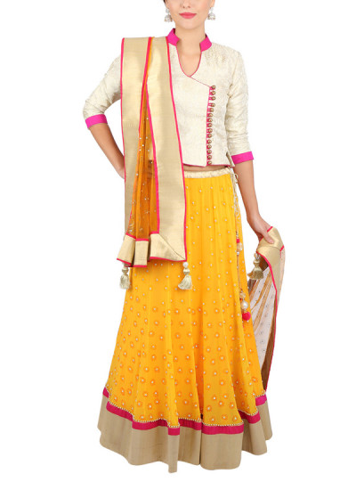 Indian Fashion Designers - Yosshita-Neha - Contemporary Indian Designer Clothes - Lehengas - YN-SS15-YNL-004 - Offwhite and Mango Yellow Lehenga