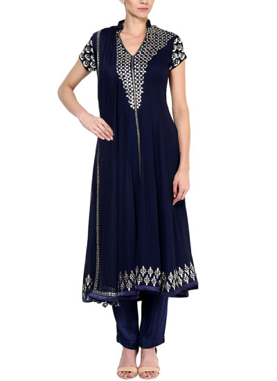 Indian Fashion Designers - Devnaagri - Contemporary Indian Designer - Blue Georgette Suit - DEV-SS16-HS-65A