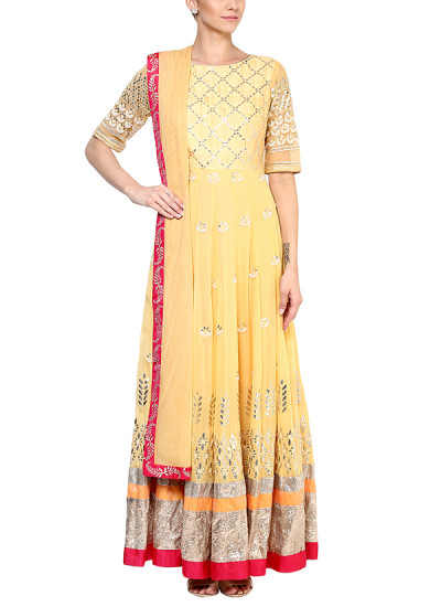 Indian Fashion Designers - Devnaagri - Contemporary Indian Designer - Mesmerising Pink Anarkali - DEV-SS16-HS-70
