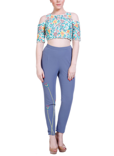 Indian Fashion Designers - Hirika Jagani - Contemporary Indian Designer - Mint Embroidered Crop Top - HJ-SS16-HJCT408-S-MG