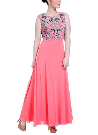 Indian Fashion Designers - Hirika Jagani - Contemporary Indian Designer - Coral Boat Neck Gown - HJ-SS16-HJGW318-L-PE