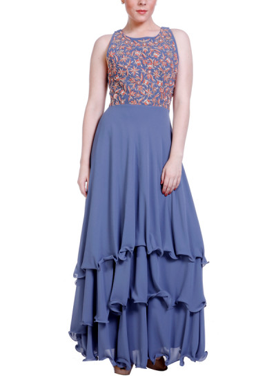 Indian Fashion Designers - Hirika Jagani - Contemporary Indian Designer - Three Layered Gown - HJ-SS16-HJGW410-M-GY