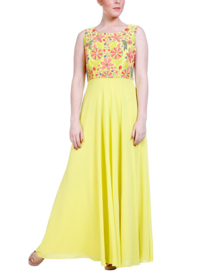 Indian Fashion Designers - Hirika Jagani - Contemporary Indian Designer - Lime Boat Neck Gown - HJ-SS16-HJGW466-L-LG