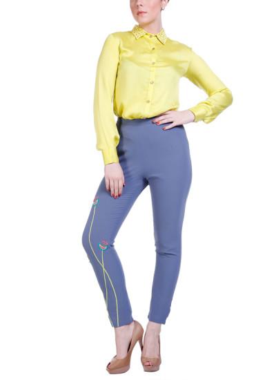 Indian Fashion Designers - Hirika Jagani - Contemporary Indian Designer - Dot Collar Shirt Set - HJ-SS16-HJSH339-M-LG