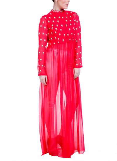 Indian Fashion Designers - Hirika Jagani - Contemporary Indian Designer - Hot Pink Flower Motif Tunic - HJ-SS16-HJTU343-L-HP