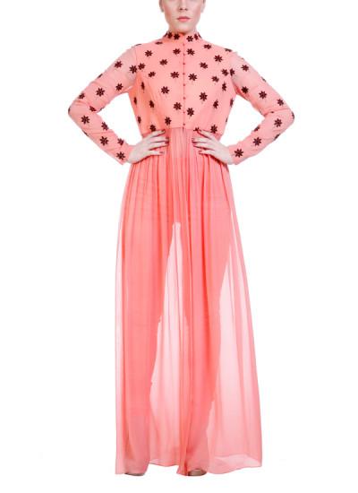 Indian Fashion Designers - Hirika Jagani - Contemporary Indian Designer - Peach Sunflower Motif Tunic - HJ-SS16-HJTU395-L-PE