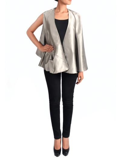 Indian Fashion Designers - Janaki - Contemporary Indian Designer - Grey Flared Shrug - JKI-SS16-J2