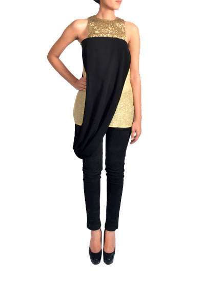 Indian Fashion Designers - Janaki - Contemporary Indian Designer - Black Sequinned Top - JKI-SS16-T4