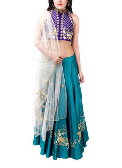 Indian Fashion Designers - Kriti J - Contemporary Indian Designer - Violet and Green Lehenga Set - KJ-SS16-LA01