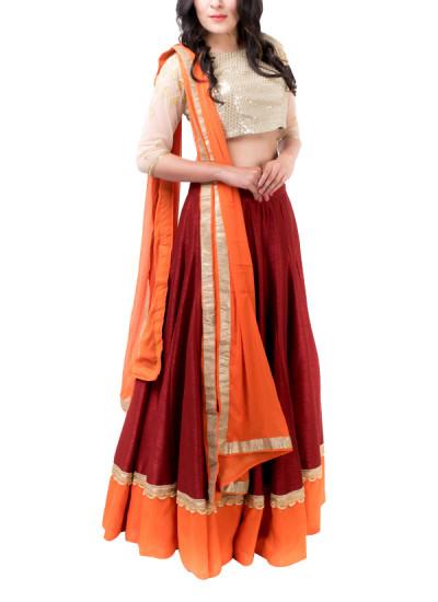 Indian Fashion Designers - Kriti J - Contemporary Indian Designer - Maroon and Orange Lehenga Set - KJ-SS16-LA05