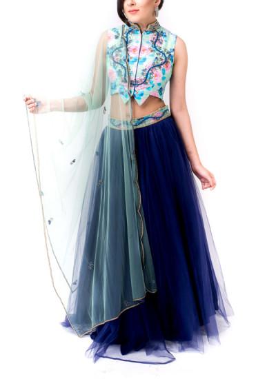 Indian Fashion Designers - Kriti J - Contemporary Indian Designer - Cyan Blue Lehenga Set - KJ-SS16-LA07