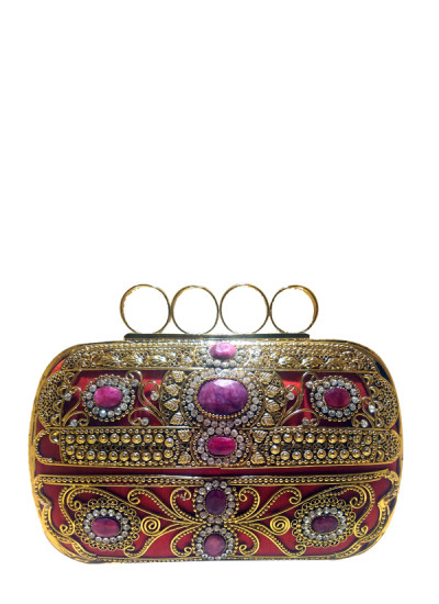 Indian Fashion Designers - Meera Mahadevia - Contemporary Indian Designer - Ring Shaped Clasp Clutch - MM-SS16-MM-6900