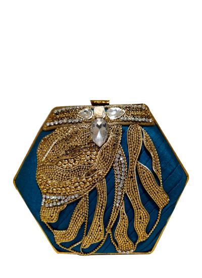 Indian Fashion Designers - Meera Mahadevia - Contemporary Indian Designer - Blue Raw Silk Clutch - MM-SS16-MM-6903