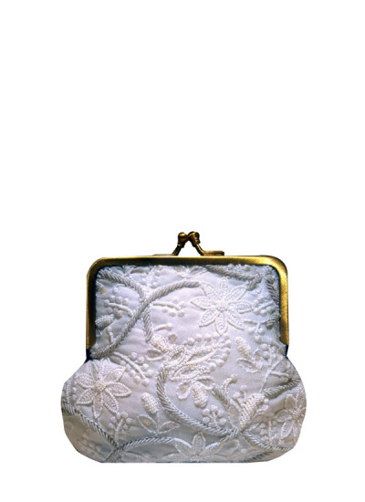 Indian Fashion Designers - Meera Mahadevia - Contemporary Indian Designer - White Self Embroidered Clutch - MM-SS16-MM-6905