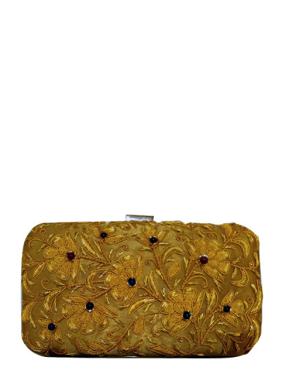 Indian Fashion Designers - Meera Mahadevia - Contemporary Indian Designer - Cascading Gold Clutch - MM-SS16-MM-6909